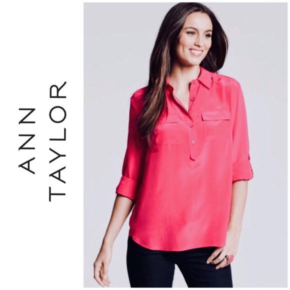 ccefd0b5b55c5 Ann Taylor Tops - Silk Ann Taylor Popover Camp Shirt 12 petite